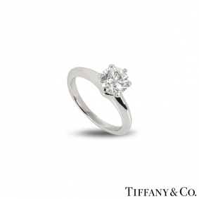 Tiffany & Co. Platinum Diamond Setting Ring 1.04ct G/VS2